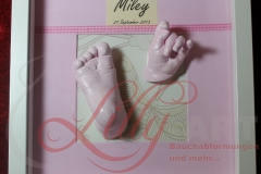 3d Gipsabdruck Babyfuß Babyhand rosa babygirl im Rahmen Burg Stargard Mecklenburg Lilly-ART