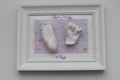 Bilderrahmen Gipsabdruck Babyfuss Babyhand babycast newborn baby Lilly-ART Burg Stargard