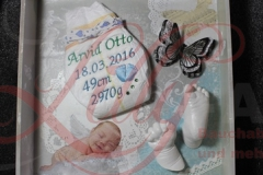 Gipsabdruck Babyhand Babyfuß Shabby Vintage Windel Rahmen Woldegk Mecklenburg Burg Stargard